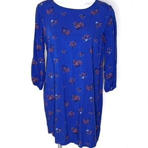 Cobalt Blue Long Sleeve Floral Sheath dress
